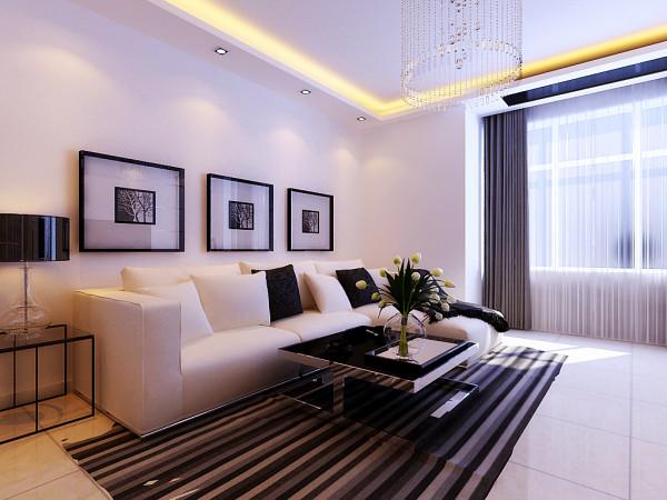 沙发背景墙上的装饰画很好的表现出强烈的现代感。