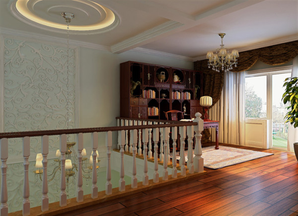 设计说明:为了充分的利用室内空间,所以将书房设计在顶层的楼梯转角处,在整体的欧式古典装修的背景下,奖传统中式书房融入其中,通过中西合璧的表现手法,进一步增添了房间的高贵之气。