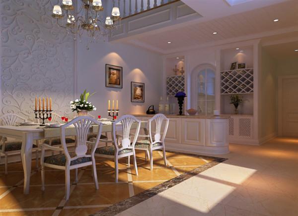 设计说明:餐厅的采用了简欧的表现手法,大胆而又前卫的超高瀑布吊顶直达二楼,使得餐厅区域成为整个房间的视觉中心,先声夺人的大旗造型,诠释了业主对家庭生活和亲情交流的重视。