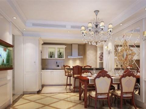 餐厅作为用餐区,保证满足家人用餐同时,古朴的实木餐桌椅,椅子与桌子边缘雕刻与弧度完美的结合,