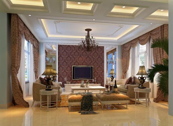 设计说明:整个空间方正宽阔,层高较高,因此采用了奢华大气的古典主义造型,以现代装璜手段为表皮,以传统古典韵味为筋骨,让室内空间得到最大利用的同事,充分展现了业主的审美品位和身份地位。