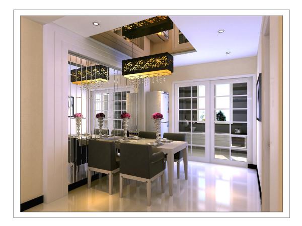 餐厅:墙面利用矩形的倒角银镜材质作为餐厅的主题背景墙、顶面利用茶色镜面材质作为造型顶,从物理方式、视觉感官、颜色变化三方面拉伸空间感受,彻底解决了餐厅空间狭小的问题