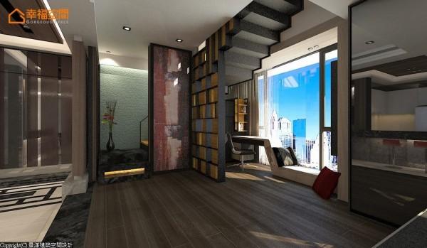结合柚木与铁件的半穿透隔屏,优美的线条与设计感俨然成为屋中亮眼的装置艺术,并巧妙掩去窗外壁刀煞风水。 (此为3D合成示意图)