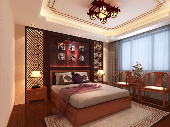 卧室柔和舒适,壁纸的应用和床头背景的设计,体现生活的温馨。