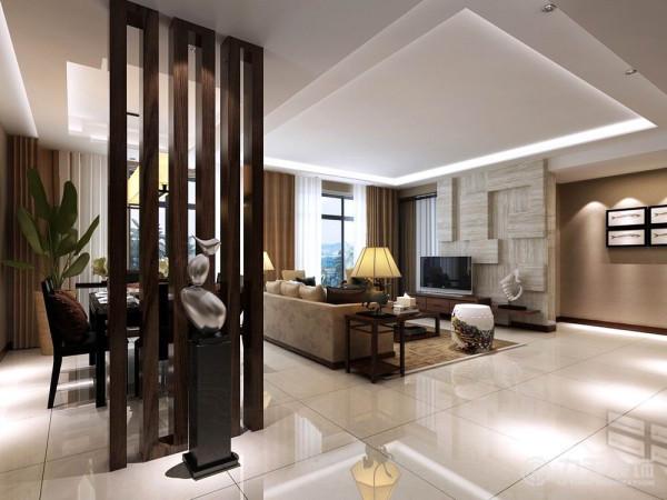 中国风的构成主要体现在传统家具(多为明清家具为主)、装饰品及黑、红为主的装饰色彩上。室内多采用对称式的布局方式,格调高雅,造型简朴优美,色彩浓重而成熟