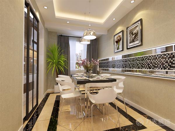 餐厅是家居生活的心脏,不仅要美观,更重要的是实用性、整体性,因此在本方案中采用石膏板与银镜以及黑白色的马赛克的造型为主,配以发光灯带,再用两幅简单的挂画加以点缀,显得整个空间通透明亮,大气又不乏时尚感