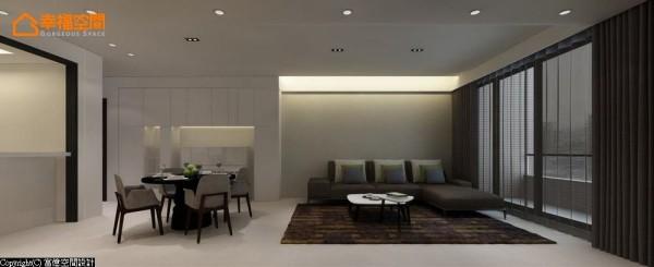 由玄关开始绵延的收纳机能,其间摆放屋主的直立式钢琴,将演奏乐音带入生活,而后以珪藻土涂刷沙发背墙,透过墙面的机能变化区隔客餐厅空间。