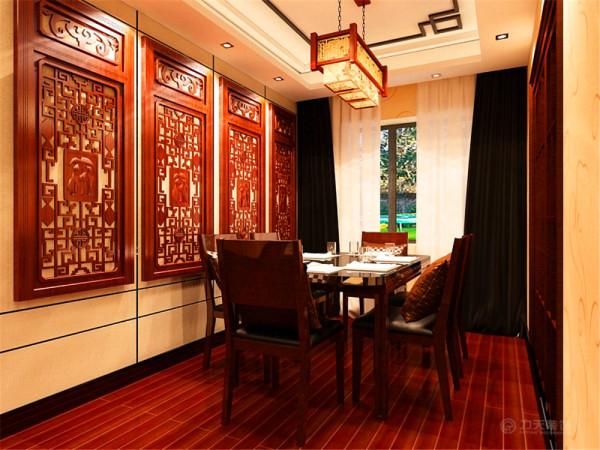 空间上讲究层次,多用隔窗、屏风来分割,用实木做出结实的框架,以固定支架,中间用棂子雕花,做成古朴的图案。门窗对确定中式风格很重要,因中式门窗一般均是用棂子做成方格或其它中式的传统图案