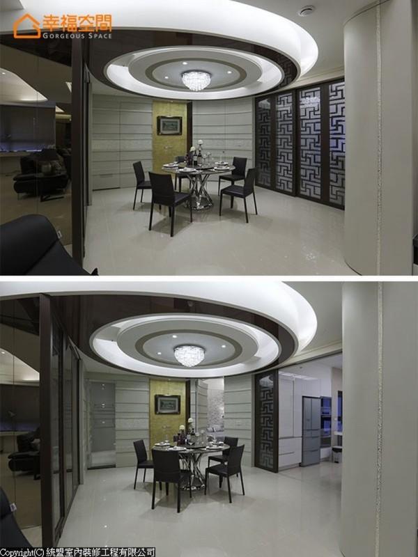 玄关起始,图腾语汇为屏低调呼应入厨房自动门,圆弧天花律动串联起玄关与餐厅关系。
