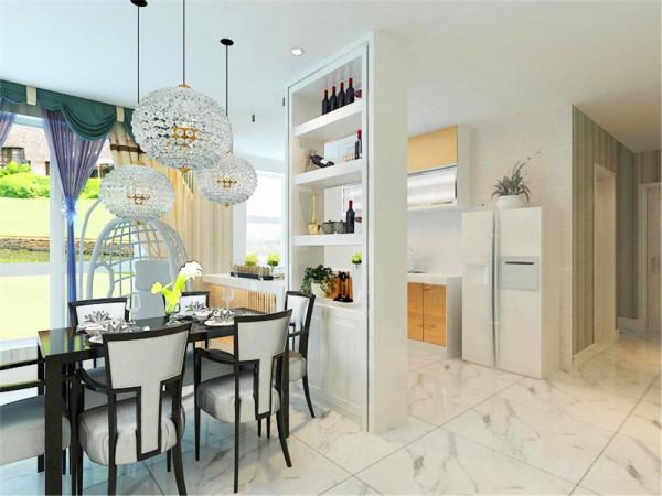 开放式的餐厅成为客厅背景连接了沙发的设计手法,餐厅的衬托,简约不失设计感