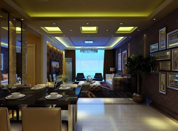 客厅和餐厅没有明显的区域划分,在地面上用灰色地砖作为分割以及两种不同风格的吊顶分开两个空间。