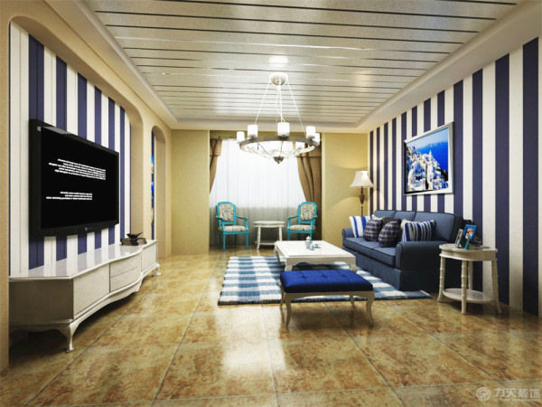 电视背景墙采用了拱门的造型,因为地中海风格的建筑特色就是拱门。中间设计了一个大吊灯,个人一种温馨的感觉。沙发背景墙采用了蓝白相间的壁纸,一副地中海风格的画,起到了画龙点睛的作用。