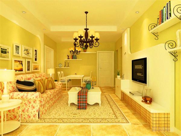 客厅采用了暖色调,突出了温馨质朴的感觉,电视背景墙采用了弧线造型与沙发背景墙相呼应。沙发背景墙挂有装饰画,和一些小的装饰品,点缀了空间为客厅增色不少。沙发采用碎花的图案更加贴近自然,展现朴实生活的气息