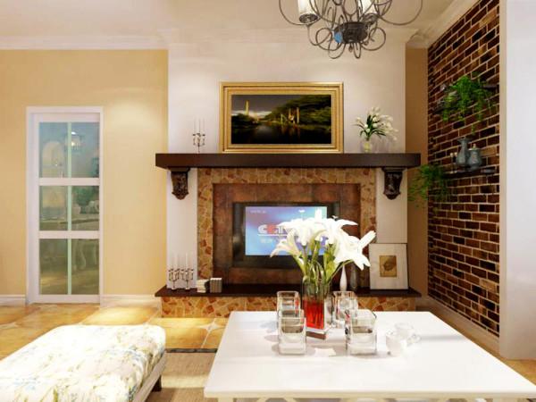 电视背景墙我采用仿造欧式壁炉,在壁炉里取代木柴换成电视,既满足视听需求又起到很好的装饰效果,紧邻阳台墙面是砖石墙,它进一步丰富立面空间层次,上面再放上绿色植物,整个空间充满了生机活力