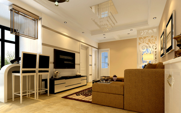 本案设计首先考虑到了客厅和餐厅部分的完整性,在阳台部分做了小的吧台设计,整个方案以舒适浪漫来设计,迎合现代人们的生活要求。