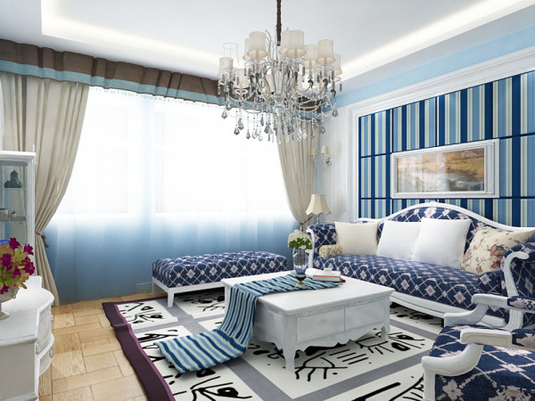 沙发背景墙采用石膏线加蓝白条纹壁纸装饰,中间是一副挂画,大海的气息油然而生。深蓝色的沙发加以白色的。靠垫装饰给人一种深海中泛着浪花的视觉冲击。小沙发的背景墙简单的做成了照片墙,留住那美好的回忆