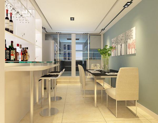 在餐厅的设计上,业主想要一个酒柜和吧台,所以我为他们打造了一套酒柜吧台的组合家具,整体的颜色定位白色。将餐桌靠边,节省空间。以上就是我对整体空间的设计。