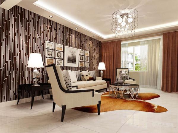 沙发背景墙贴了极具现代感的黑白条纹壁纸,配上漂亮的照片墙,更加增强了现代感。沙发是白色布艺沙发,白色的布艺与黑色的小茶几形成了鲜明的对比