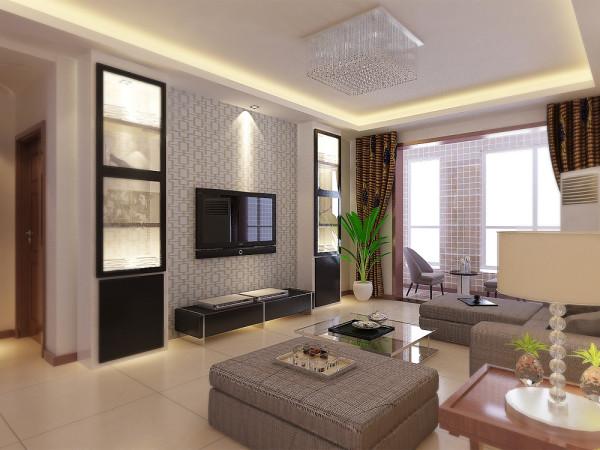 客厅沙发背景墙采用色彩丰富的挂画做装饰,电视墙没有太多造型,客厅区域和餐厅区域采用回字形吊顶加以灯带,给人一种温馨舒适的感觉。