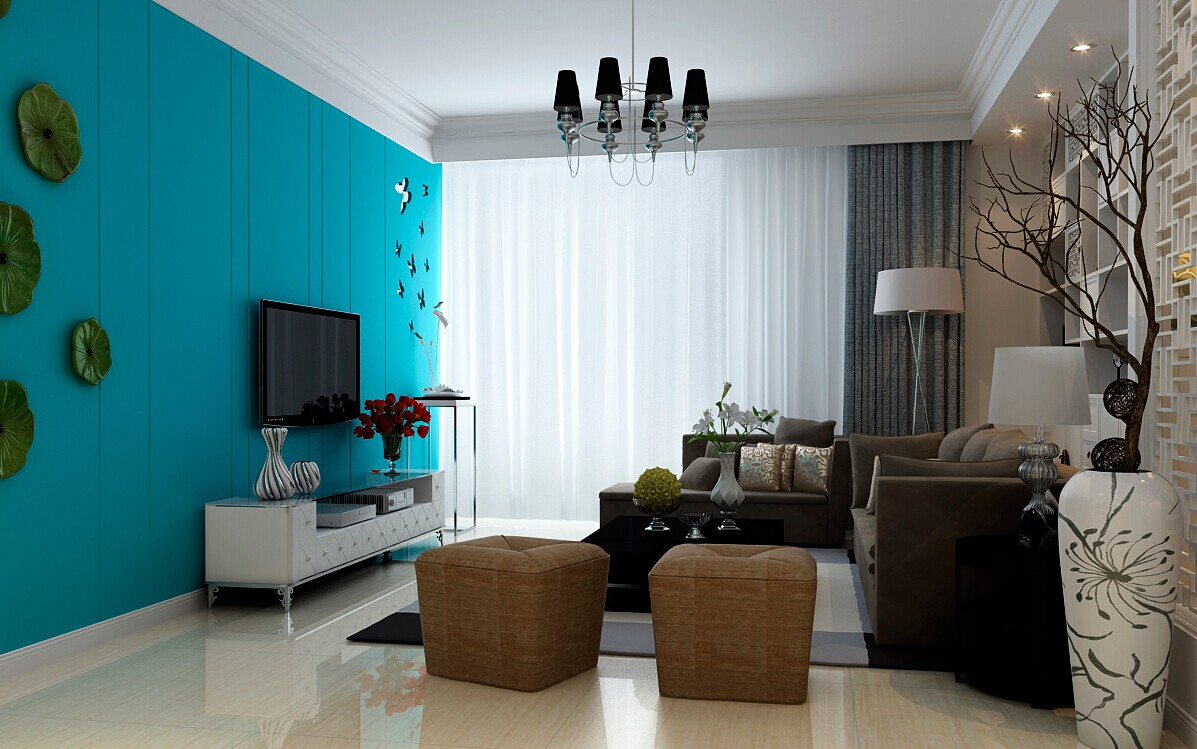 客厅图片来自大业美家装饰在东岸尚景127平新中式风格装修的分享