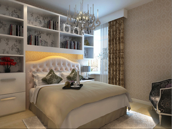卧室的设计延续客厅的大面大线条的手法,是采用块面结合的方法,运用简单的家具和温馨的灯光衬托出装修的高端大、以及简约而不简单的简约风格特色。