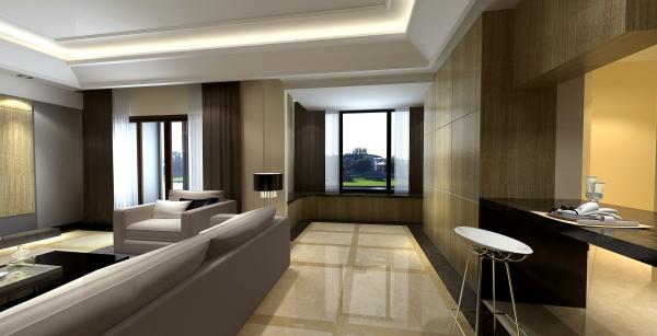 精心设计开放式厨房与客厅相连接的过道
