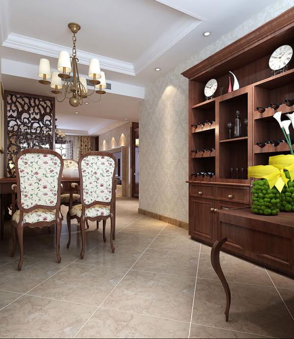 龙源世纪家园120平方三室两厅装修案例,餐厅装修效果图和酒柜装修效果图