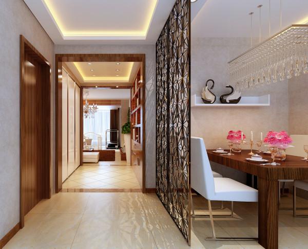 设计理念:一进门是一个铁艺的镂空屏风,彰显出主人内心所追求的与众不同,简单的灯池吊顶,使门厅显得不再单一。