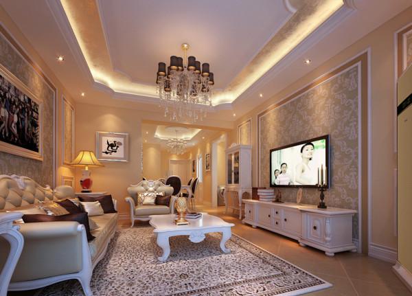 设计理念:白色调为主,灯光运用暖色来烘托整体的氛围。客厅以华丽唯美的石膏线装饰,典雅的布艺沙发和精致的电视柜给人一种完美的法式浪漫风情的享受。 亮点:独特的吊顶,油画,唯美的家具。