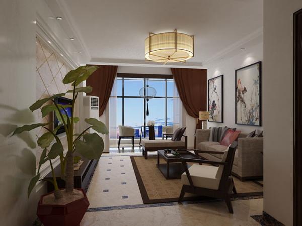 天地湾120平方三室两厅装修效果图新中式风格,客厅装修效果图