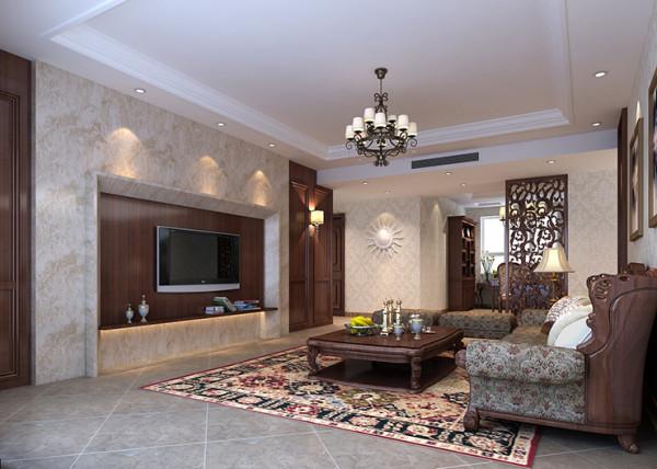 龙源世纪家园120平方三室两厅装修案例,电视背景墙装修效果图