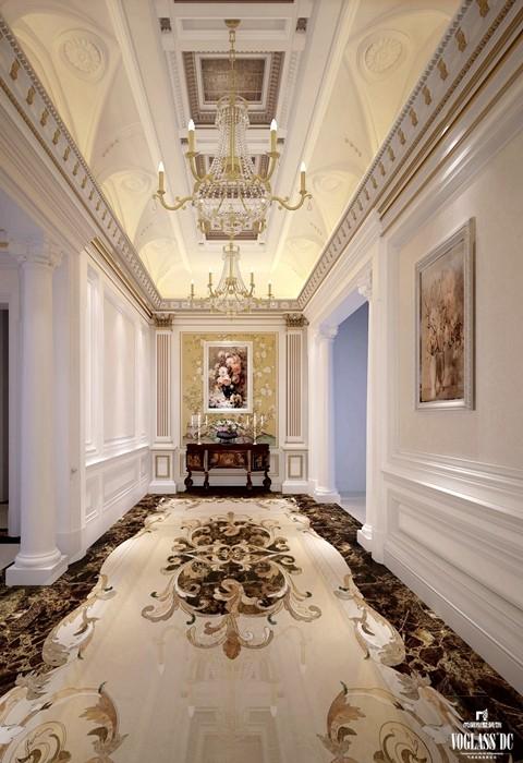 门厅采用洛可可风格的装饰,纤巧的曲线,华丽的装饰。以及路易十六式精炼典雅的平直表面,旨在追求自然舒展的心情,明快轻松的感受。营造轻盈优美,安逸舒适的家庭氛围。