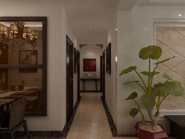 天地湾120平方三室两厅装修效果图新中式风格,过道装修效果图