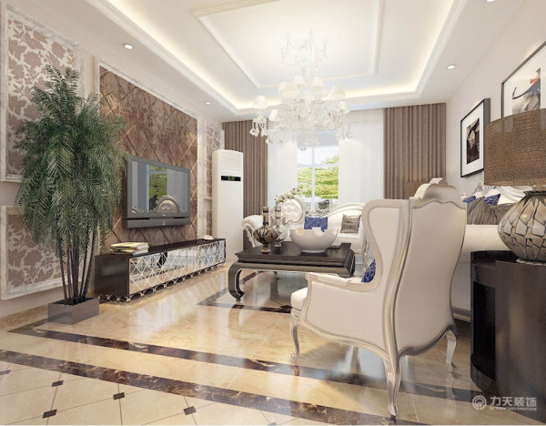 客厅白色的皮质沙发 ,柔软的抱枕,地面拼花,使空间雅致、干净、大气,在温暖的的灯光下享受休憩的时光。餐厅极具欧式线条美的皮质餐桌椅,加上现代银色元素,使就餐成为一种愉悦的事
