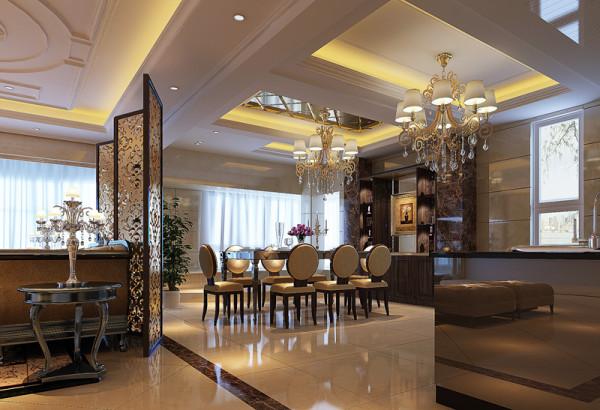 设计理念:餐厅连接客厅及开放式厨房,更能凸显整体效果。餐厅的横向宽度已足够,以小叠级吊顶搭配菱形车边香槟镜镶顶装饰,提升了视觉层次感及餐厅的心理层高,使之与大气的客厅相互呼应。