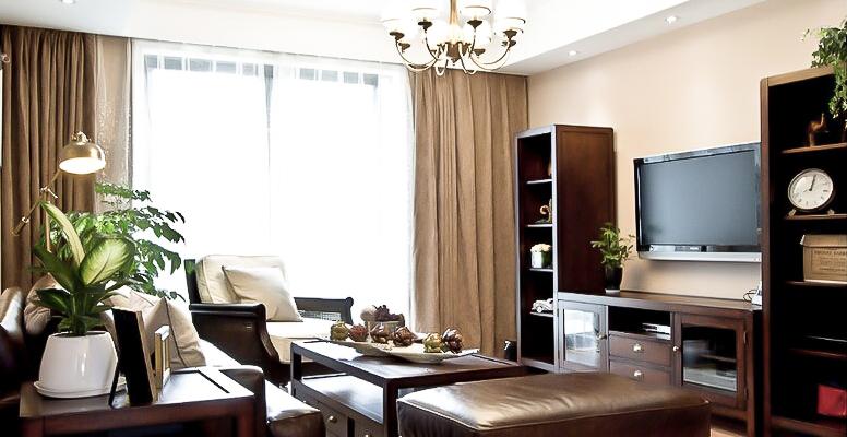 137㎡装修 三居 美式风格 装修设计 原木家具 环保材料 实用收纳 布艺家纺 客厅图片来自居佳祥和装饰在都市恬淡136㎡温馨美式装修的分享