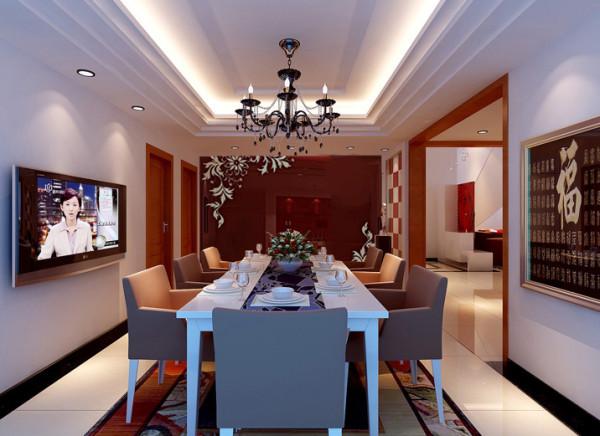 """设计理念:在材料的选择和色彩的搭配上则更加注重各元素之间的细腻微妙的变化和对比,如同一幅""""空间抽象画""""。 亮点:搭配的整体色调刺激人的食欲,使人心情愉悦,使人在宽阔的餐厅用餐的过程中变得生动有趣。"""