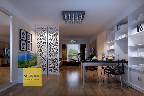 餐厅区域设计一展示架,满足储物功能。