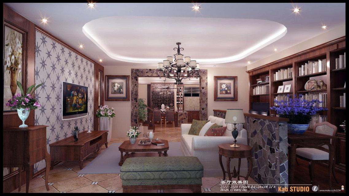 美式乡村 混搭 客厅图片来自吕振凯设计师在东湖尚郡的分享