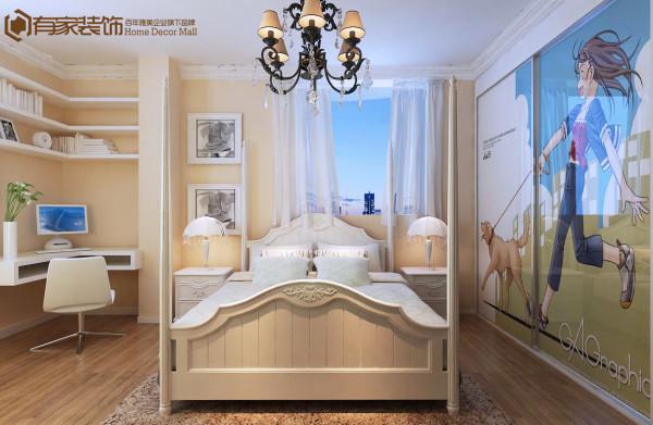 小孩房子,一个小书桌,一个大的壁纸。