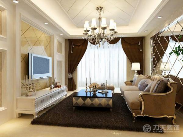 背景墙采用不 锈钢圈边的菱形镜子,电视背景墙采用金花米黄石材装饰,其他采用石膏板造型,中间粘贴壁纸,顶面采用石膏板圈边,