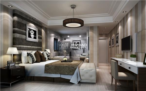 前面的挂画增添了艺术色彩,淡雅的床铺让夜晚更加贴心。这样的舒适度对于浪漫的夫妇来说每天都是幸福的。