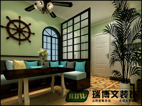 入户田字格栅将原有布局重新划分,形成入户鞋帽区;原始走廊设计为餐厅,并用卡座设计取代板式餐桌,与整体风格融为一体。
