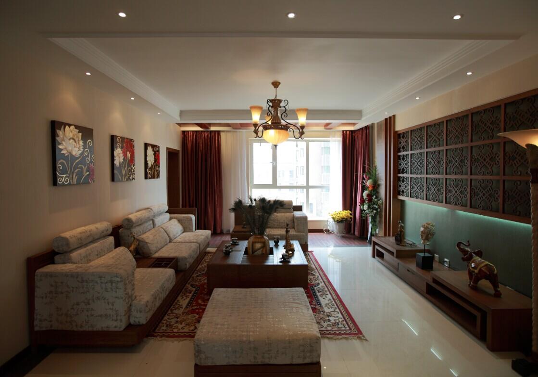 东南亚 客厅图片来自郑州实创装饰-杨淑平在农大家属院时尚的东南亚风格设计的分享
