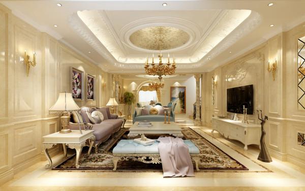 龙湖双珑原著欧式风格客厅装修效果图