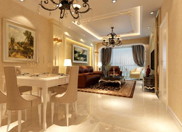 【成都实创装饰】红树湾—欧式风格—整体家装—餐厅装修效果图 亮点:本来就餐的小空间反倒显的更华丽和高贵。