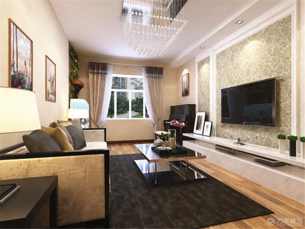 该设计在电视背景墙上采用了几何体造型的石膏板配上壁纸,看起来简洁大方。背景墙旁边放置钢琴。沙发背景墙略微简单挂上两张简单的挂画,也能为空间增色不少。