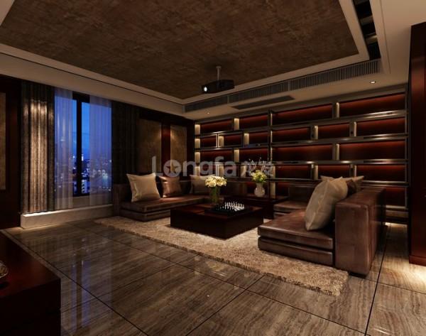 酒吧的设计既起到了玄关的作用,也使得空间更具时尚与高贵。沙发背景墙大量使用的车边银镜将空间得到了放大,又不显得沉闷。