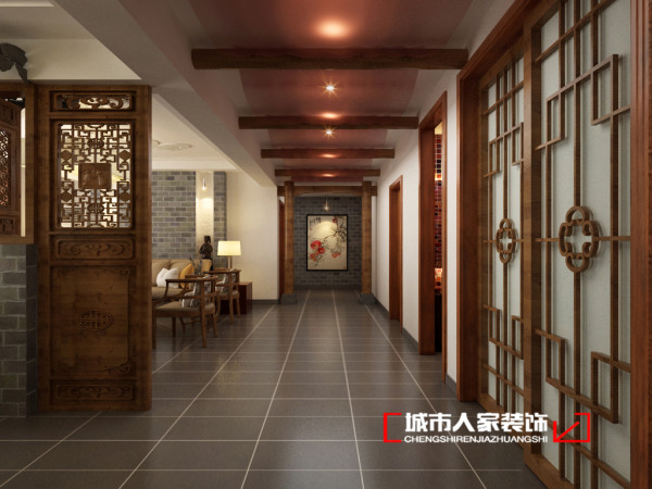 入户玄关走廊,一眼望去 层叠的有序,强调层次的律动来加深视觉上带来的延伸感。扩大空间感。设计师采用灰色来做主宰的主元素,灰度更内敛,肆意的释放低调的情怀。