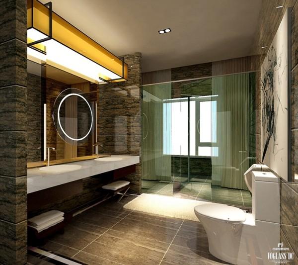 主卫生间的地面及墙面运用了天然大理石做饰面,显示豪气尊贵。真正的体现了简约而不简单的内在。整体空间稳重大气、实用美观、功能齐全。
